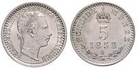 5 KREUZER 1858 A FRANTIŠEK JOSEF I. (1848 - 1916)